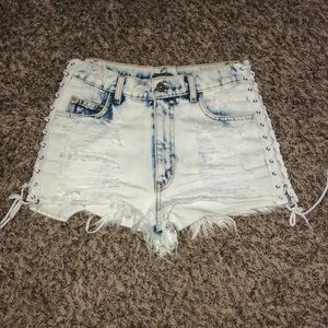 Carmar acid wash cheeky shorts with tie up sides